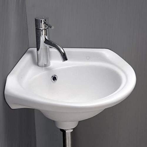 Kleine Eckwaschbecken aus Keramik Handwaschbecken Mini Waschtisch Keramik-Waschbecken WC-Waschbecken klein Gästebad Hängewaschbecke| Wandmontage, Badezimmer 33 x 33 x 20.3 Cm Weiß