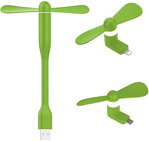 QAZW Mini Ventilador USB,Ventiladores De Teléfonos Móviles,Ventilador Flexible USB,Ventilador para Teléfono Móvil Tipo C,Ventilador De Teléfono Portátil para Almohadilla,teléfono Móvil,2 Piezas,Green