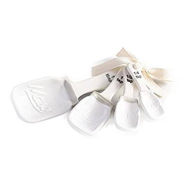 Mason Jar Ceramic Measuring Spoons Set with Cotton Ribbon Tie (White)