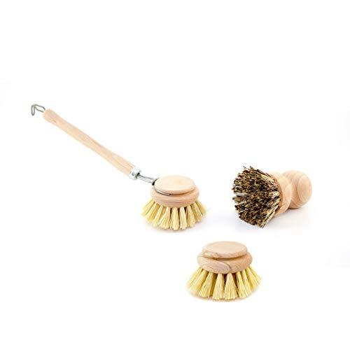 Lantelme, 6430, spazzola lavapiatti con testina di ricambio e spazzolino per le pentole, set da 3pezzi.Set di spazzole di legno per lavare le stoviglie, realizzate con vero tampico e vera 'Union'.
