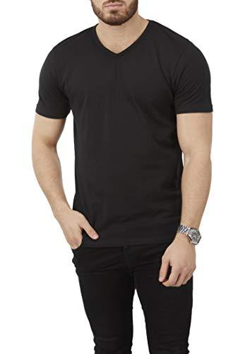 Charles Wilson Herren 4er Packung Elastan T-Shirts mit V-Ausschnitt (Large, Black Type 61)