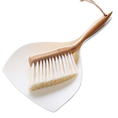 Handbürsten Set aus Kehrschaufel und Bambus, Besen Schaufel-Set, Kunststoff-Reinigungsbürste Kleine Besen-Staubschaufel für die Reinigung