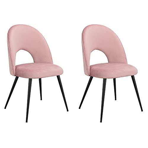 INJOY LIFE Set di 2 sedie da pranzo in velluto con imbottitura in spugna, sedia moderna da scrivania con gambe in metallo e schienale, per sala da pranzo camera da letto cucina ufficio sedie rosa