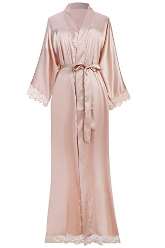 ArtiDeco Damen Morgenmantel Maxi Lang Seide Satin Kimono Kleid Einfarbiger Bademantel Damen Lange Robe Reine Farbe Schlafmantel 135 cm Lang...