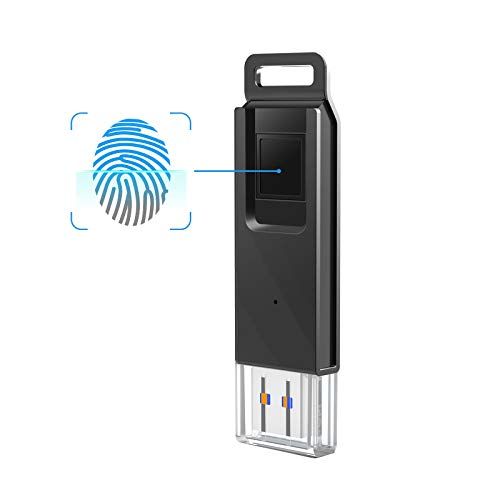 KOOTION 32GB Fingerprint Encrypted Flash Drive USB3.0 Thumb Drive Dual Storage Security,Black