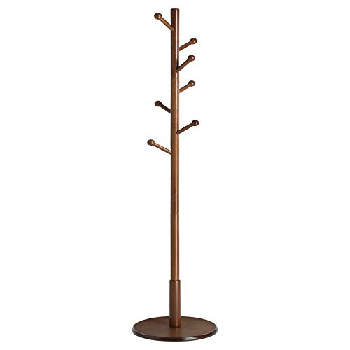 VASAGLE Coat Rack Free Standing with 7 Rounded Hooks, Wood Hall Tree, Entryway Coat Stand for Clothes, Hats, Purses, in the Entryway, Living Room, Dark Walnut URCR07WN