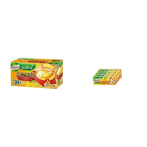 【セット買い】クノール カップスープ コーンクリーム 30袋入 + 味の素 クノール チキンコンソメ 5個入×5箱