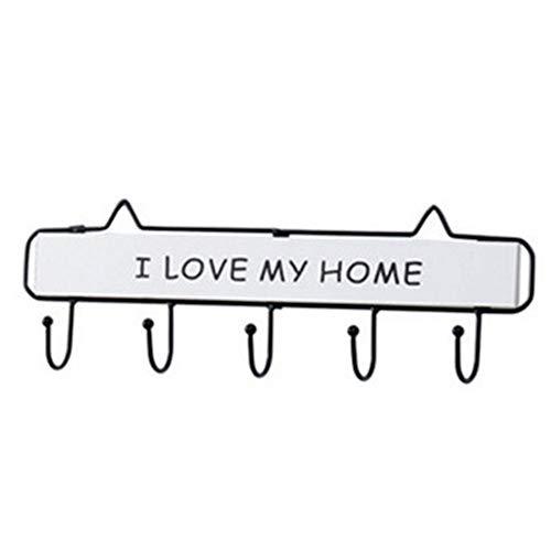 Llavero de madera con 5 ganchos para llaves montado en la pared, decoración para manualidades, colgantes para entrada, sala de estar, porche (blanco)
