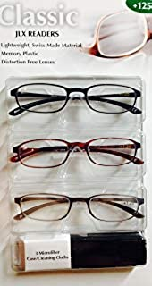 Reading Glasses Classics JLX Readers +125, Lightweight, Swiss Made Material, Distortion Free Lenses