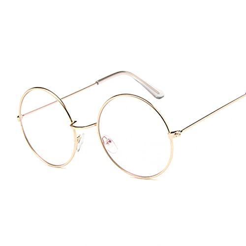 Tanxianlu Nuevo diseñador de anteojos para Mujer, monturas ópticas, monturas de Gafas Redondas de Metal, Lentes Transparentes, Gafas, Negro, Plateado, Dorado, Cristal para Ojos,Gold