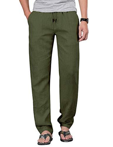 Mens Soft Cotton Pants Thick Waistband Summer Cotton Gym Pants for Men Ag L Dark Green