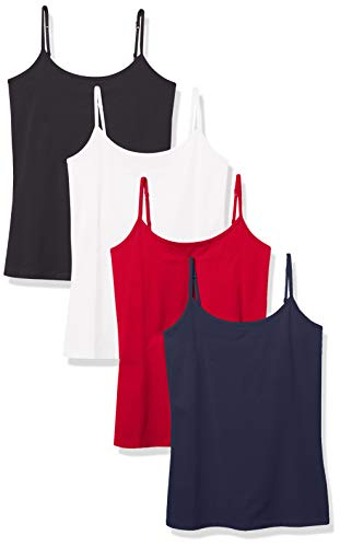 Amazon Essentials Women's 4-Pack Slim-Fit Camisole, Americana Pack, Medium