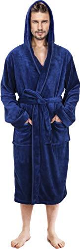 U2SKIIN Mens Fleece Robe Plush Collar Shawl Bathrobe Men ...