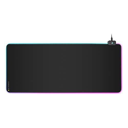 Corsair MM700 RGB Extended Gaming-Mauspad mit Stoffoberfläche (Dynamische 360°-Drei-Zonen-RGB-Beleuchtung, Oberfläche von 930 × 400 mm, USB-Hub mit zwei Ports, 4 mm dicke Gummikonstruktion) Schwarz