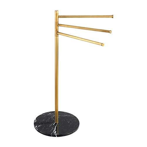 SXRKRZLB Con Patas Plegables de baño Toalla del Estante se coloca con 3 giratoria Armas, Brass Rail Torre de Las Barras for Cocina y baño, Suelos de Preparado for el baño toalleros, 36cm Longitud