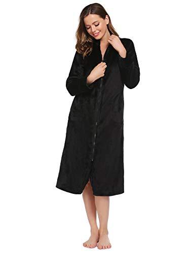 Ekouaer Women Robe Lightweight Fleece Bathrobe Soft Sleepwear Ladies Loungewear with Pockets Black Small