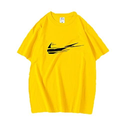 Camisetas 3D Hombres Impresas S Camiseta Suelta de Manga Corta para Hombres al Aire Libre Amarillo XL