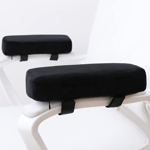 LargeLeaf Extra Thick Chair armrest Cushions Elbow Pillow Pressure Relief Office Chair Gaming Chair armrest with Memory Foam armrest Pads 2-Piece Set of Chair (Black)