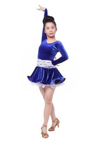 Colorfulworldstore Reguläres Mädchen/Frauen Turnierkleid für Lateinamerikanische Tänze-Cha cha cha Latin Rumba Samba Kleid-Langärmeliges tailliertes schwingendes Kleid (Mädchen-M-105cm Höhe, Blau + Weiße Spitze)