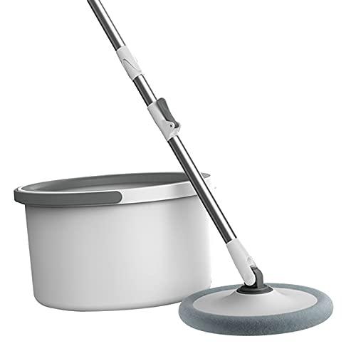 perfk Fregona de Microfibra con Cubo Redondo Mango Ajustable Barredora doméstica Limpiador de Azulejos Sistema de Flujo de cartón 360 Herramientas de