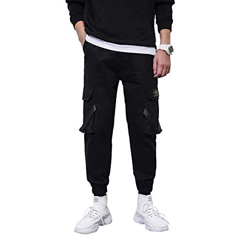 YepYes Pantalones Ocasionales Multi-Pantalones de los Bolsillos de los Pantalones de Hombre de la Calle Traje de Hip-Hop con cordón Pantalones L