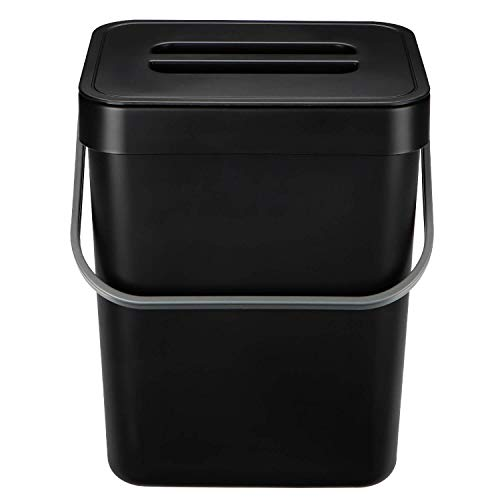 HOMWE Kitchen Compost Bin for Countertop or Under Sink Composting, 1.3 Gallon, Indoor Home Trash Can with Removable Airtight Lid, Storage Hook Hanger, Black Plastic