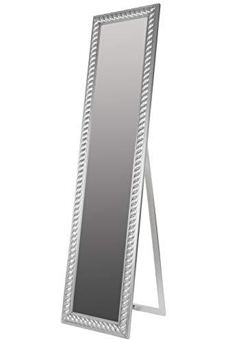 elbmöbel Standspiegel groß antik Silber Patina Spiegel Fuß barock Holz Landhaus-Stil Badspiegel Schminkspiegel Frisierspiegel Ankleidespiegel