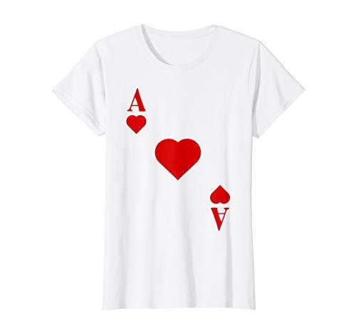 Damen Kartenspiel Kostüm Spielkarte Herz Ass - Fasching & Karneval T-Shirt