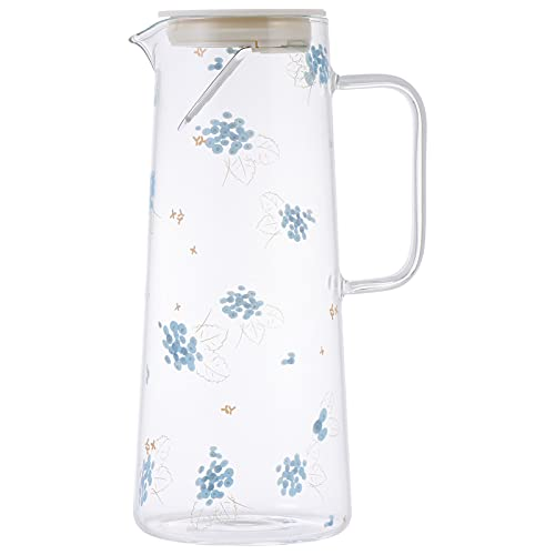 Lurrose Jarra de Agua de Vidrio con Manija de Tapa Patrón de Arándano Resistente Calor Jarra de Agua Fría Tetera de Té para Jugo de Hielo Té de Bebida 1. 5L