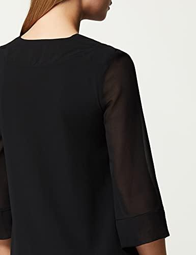 Marca Amazon - TRUTH & FABLE Vestido Midi Evasé de Gasa Mujer, Negro (Black), 48, Label: 3XL
