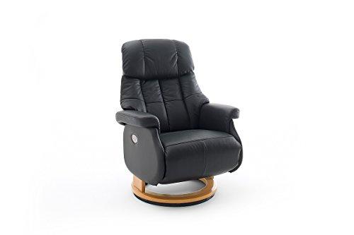 Robas Lund Sessel Leder Relaxsessel elektrisch bis 150 Kg TV Sessel, Relaxer Fernsehsessel Echtleder schwarz, Calgary Comfort XL