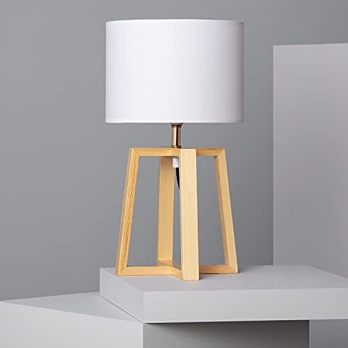 LEDKIA LIGHTING Lámpara de Mesa Korsade 460x250 mm Blanco E27 Casquillo Gordo Téxtil - Madera Decoración Salón, Habitación, Dormitorio