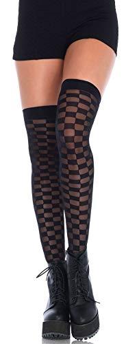 Leg Avenue Medias para mujer con tablero de damas negro y transparente