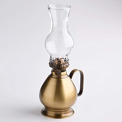 (卓上 オイルランプ 手付 PEAR AN)(CIL232-AN) 真鍮製 テーブル オイルランプ (アンティーク 茶色 濃い色 黒)