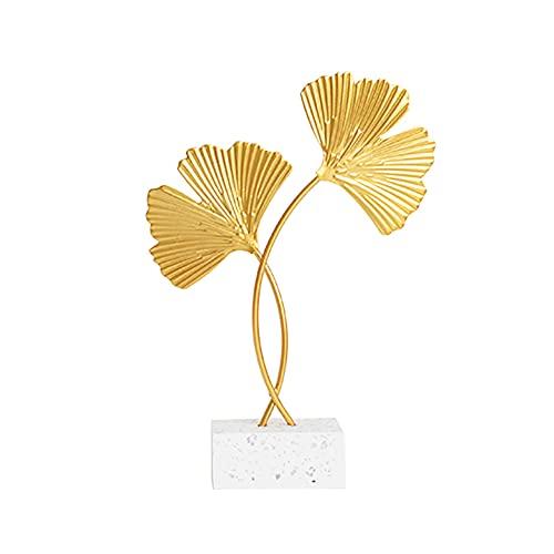 Ginkgo Biloba Adornos Decorativos, Adornos de Escritorio Decoración Hecha a Mano Adornos para el Hogar para decoración de Oficina en casa centros de Mesa para Sala de Estar (Dorado)