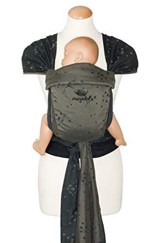 manduca Twist Babytrage > Craspedia Olive < Neugeborenen-Trage aus Tragetuch-Stoff (Bio-Baumwolle/Jaquard gewebt), Weicher Bauchgurt mit Schnalle, Träger zum Auffächern und Binden, oliv
