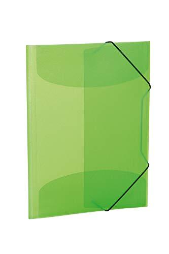 HERMA 19520 Sammelmappe DIN A3 Transluzent Hellgrün aus stabilem Kunststoff, abwaschbar und strapazierfähig, mit 3 Innenklappen, Gummizugmappe, Eckspanner-Mappe, 1 Zeichenmappe für Kinder