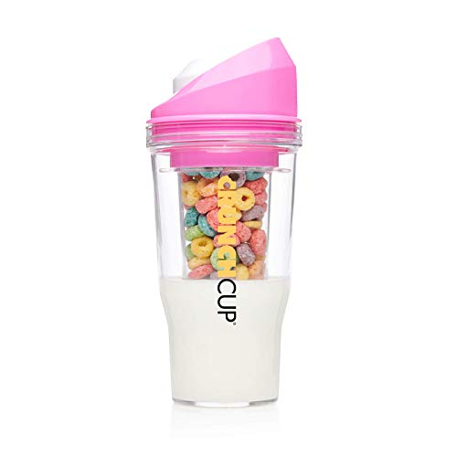 The CrunchCup XL Pink: A Portable Cereal Cup - No Spoon. No Bowl. It's Cereal On The Go.