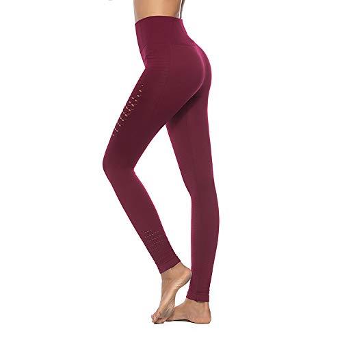 Luckly Alta Yoga Leggings Pantalón Corte de Malla Mujer Pantalon Deportivo Leggings Mujer Fitness Suaves Elásticos Cintura Alta para Fitness, Gimnasio, Correr,Rojo,S