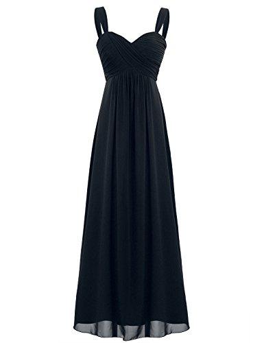 iEFiEL Elegant Damen Kleider Sommer Chiffon Kleid Lang Cocktailkleid Abendkleider Hochzeit Party Kleider Gr. 36-46 Schwarz 36