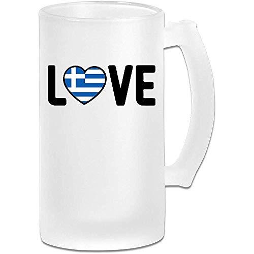 Griekse trots liefde Frosted glas Stein bier mok, pub mok, drank mok, geschenk voor bier Drinker, 500Ml (16.9Oz)