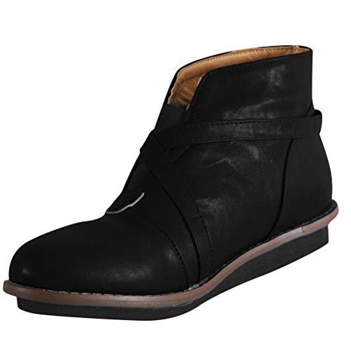 Automne Hiver LuckyGirls Chic INS Chaussures de Cheville Confortables de Boucle Ronde de Bout de Bout de Femmes