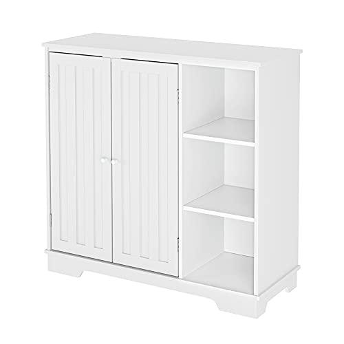 Homfa Kommode Küchenschrank Sideboard Badezimmerschrank Wohnzimmerschränke Beistellschrank Flurschrank mit verstellbaren Regalebenen und 3 Öffen Ablagen Holz Weiß 80x77x30cm
