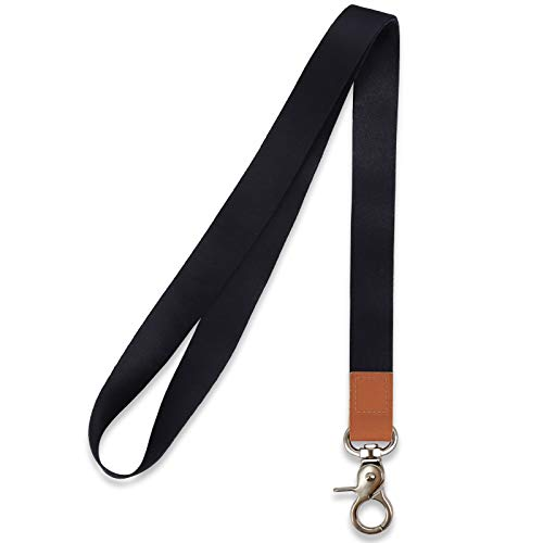 HONZUEN Long Neck Lanyard Leather Keychains with Metal Clasp, Sturdy Durable Women Men Id Badge Lanyard, Neck Lanyard Strap Ideal for Car Keys, Card Holder, Whistle, Keychain, Wallet