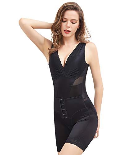 Shymay Women's Waist Trainer Bodysuit Tummy Control Postpartum Girdle Full Body Shaper Slim Body Briefer Shapewear,Black1,Large