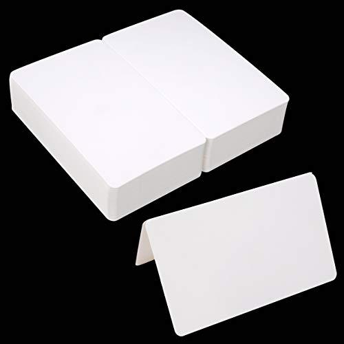 Tarjeta en Blanco Blanca,Tarjetas Plegables de Felicitación de Bricolaje, 100pcs Regalo de Manualidades 9.2x15cm Mensaje de Kraft para Cumpleaños de Boda Baby Shower