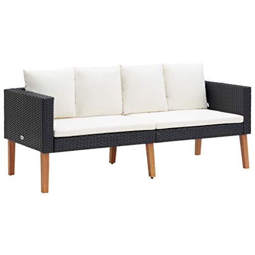 vidaXL Gartensofa 2-Sitzer mit Auflagen Zweisitzer Sofa Lounge Gartenbank Gartenmöbel Sitzgruppe Garten Garnitur Poly Rattan Schwarz