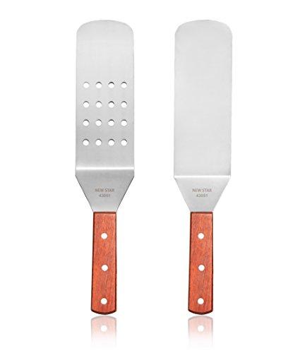 New Star Foodservice 43051 Wood Handle Flexible Grill Spatula Set, 14.5