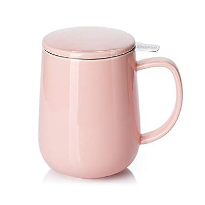 Sweese 204.108 Porcelain Tea Mug with Infuser and Lid, 20 OZ, Pink