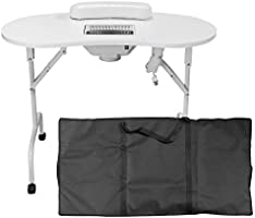 GreenLife® Portable White Manicure Table With Carrying Bag (B, White)